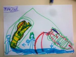οι δύο καρχαρίες είναι σε 'σαρκοφάγο, εντός της πυραμίδας, και οι δυο αιγύπτιοι τους προσέχουν