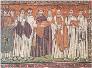 Ο Ιουστινιανός, ο επίσκοπος Ραβέννας Μαξιμιανός και η αξιωματούχοι