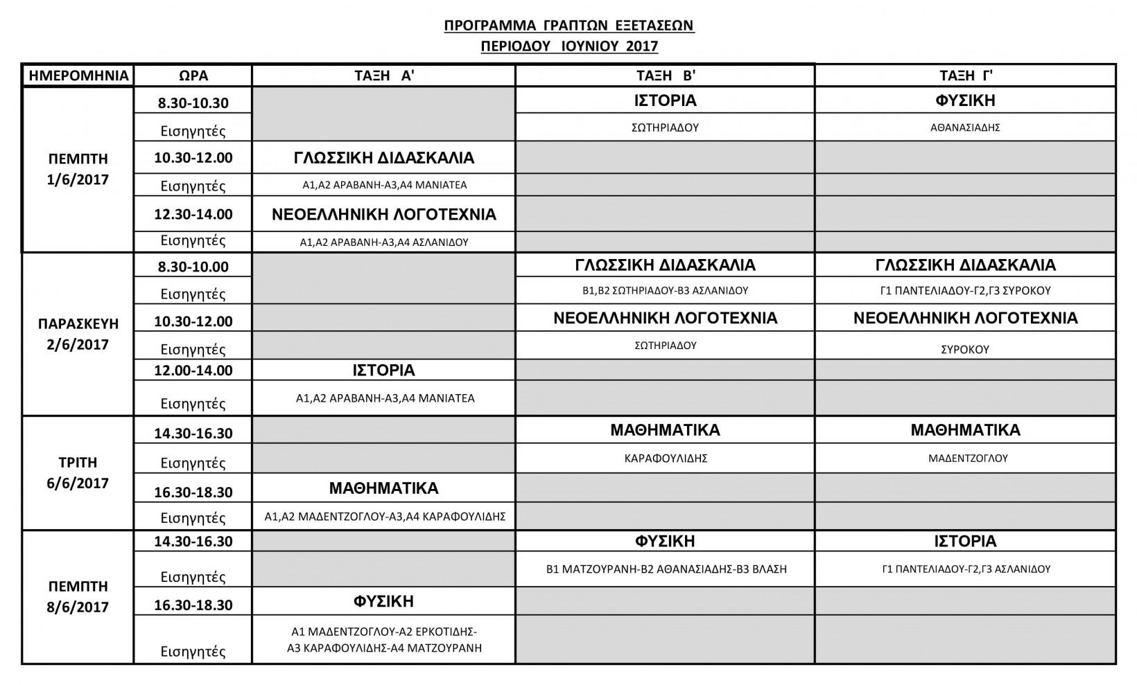 εξετασεις 2017  προγραμμα