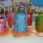 φαναράκια από κάνσον χαρτόνι ζωγραφισμένα με κηρομπογιές και περασμένα με ηλιέλαιο
