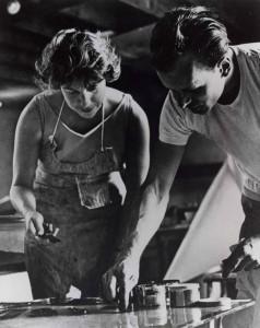 Artist Helen Frankenthaler at work, West Islip, New York, 1964