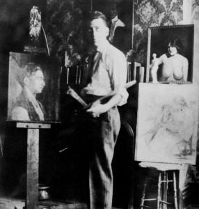 Man Ray, Self-Portrait in his room-studio, Brooklyn, ca 1910