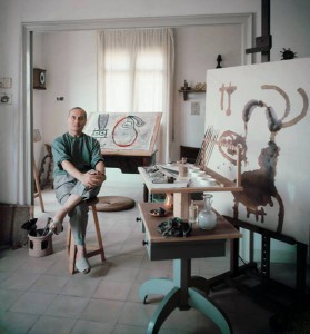 Miró at work in his Barcelona studio.