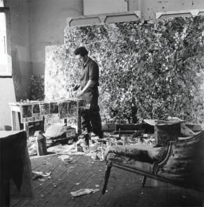jean-paul riopelle in his atelier rue duratin, paris, 1952