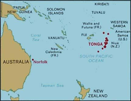 Χάρτης του νότιου ειρηνικού