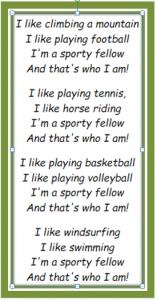 Sports Song Lyrics - 4th Grade - Unit 2