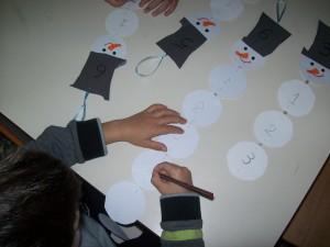Στη συνέχεια αριθμήσαμε τις κοιλίτσες του χιονάνθρωπου μας, γράφοντας τους αριθμούς με τη σειρά....