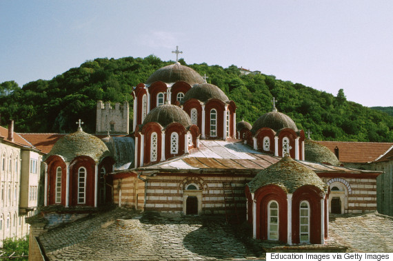 Greece, Mt, Athos, Esfigmenou Monastery. (Photo by Education Images/UIG via Getty Images)
