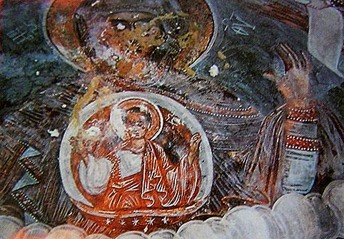 Η Πλατυτέρα στη κόγχη του ναού της Παναγίας Τρανοβάλτου, τέλη 18ου αιώνα, Δημόπουλος, Τα παρά τον Αλιάκμονα εκκλησιαστικά, σ. 876
