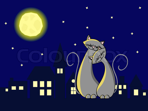 4257316-877440-two-grey-cats-in-love-sitting-at-the-roof-at-night
