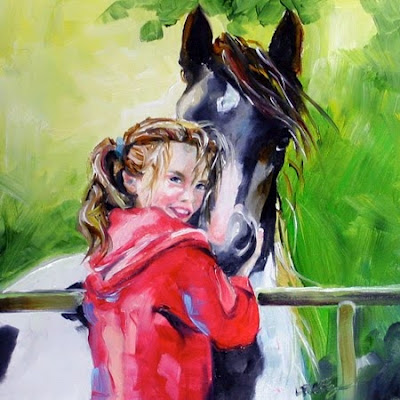 Kyra and her Irish Horse by Texas Aritst Laurie Justus Pace Child and hors