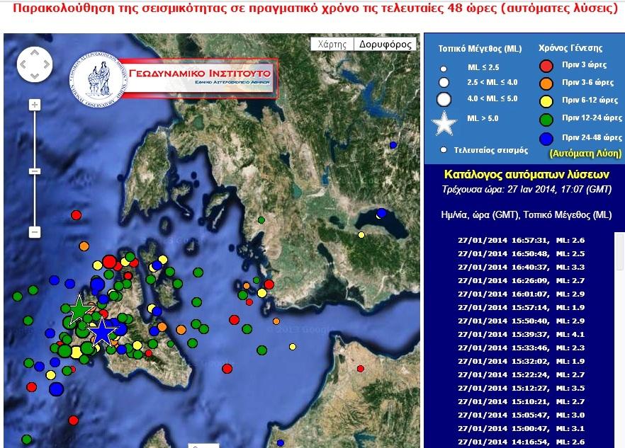 Παρακολούθηση της σεισμικότητας σε πραγματικό χρόνο τις τελευταίες 48 ώρες