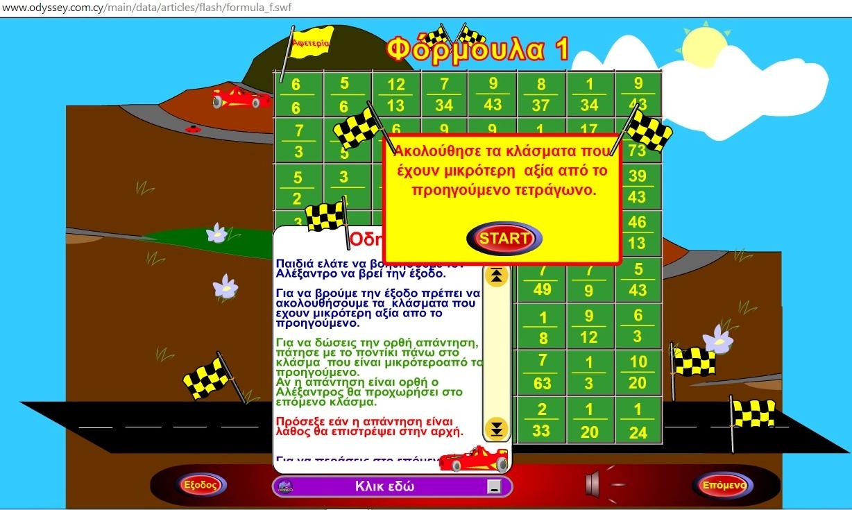 Παιχνίδι Μαθηματικών για τα παιδιά της Στ΄τάξης (από το Οδύσσεια )