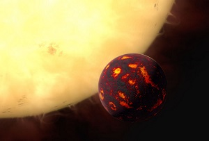 This artist's impression shows the super-Earth 55 Cancri e in front of its parent star. Using observations made with the NASA/ESA Hubble Space Telescope and new analytic software scientists were able to analyse the composition of its atmosphere. It was the first time this was possible for a super-Earth. 55 Cancri e is about 40 light-years away and orbits a star slightly smaller, cooler and less bright than our Sun. As the planet is so close to its parent star, one year lasts only 18 hours and temperatures on the surface are thought to reach around 2000 degrees Celsius.