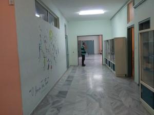 Ο μεγάλος διάδρομος που οδηγεί στα εργαστήρια τεχνολογίας, πληροφορικής και φυσικών επιστημών.