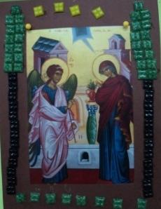 Ο Ευαγγελισμός της Θεοτόκου με ψηφιδωτή κορνίζα.