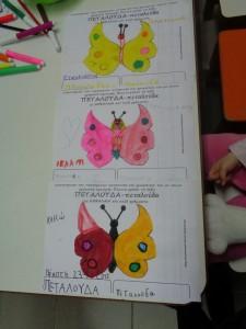 η λέξη ''πεταλούδα'' με κεφαλαία  και πεζά γράμματα