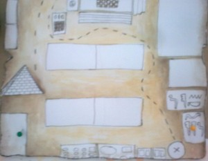 Κάτω δεξιά είναι γραμμένο σε ιερογλυφικά το 'μήνυμα του χάρτη'