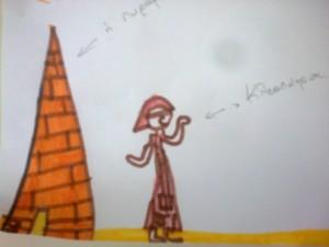 η Κλεοπάτρα έξω από την πυραμίδα της