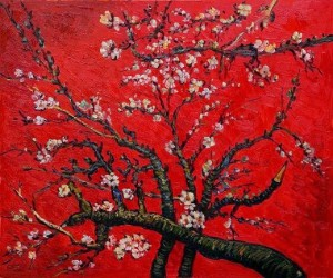 vincent-van-gogh-branches-of-an-almond-tree-in-blossom-artist-interpretation-in-red