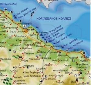 Χάρτης της περιοχής της Αιγιάλειας