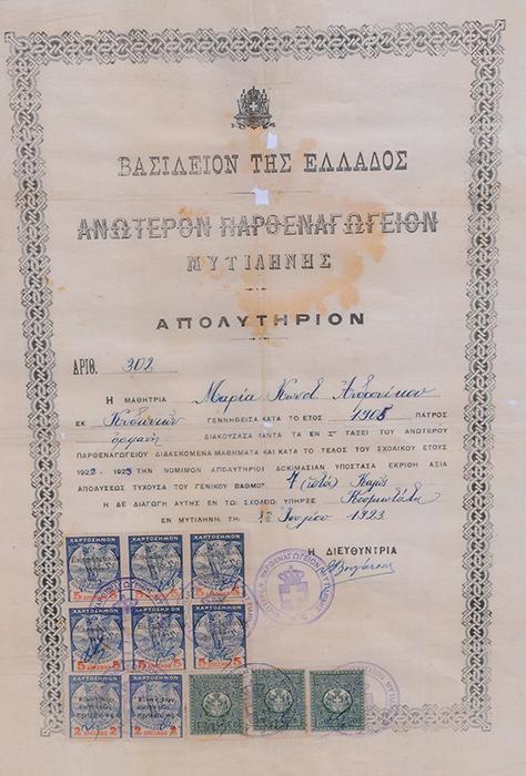 Απολυτήριο-1923