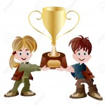 10482300-one-girl-and-one-boy-holding-trophy-Stock-Vector-trophy-winner-children