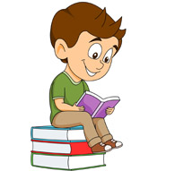 student sitting on stack books reading clipart