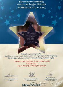 Πιστοποιητικό Υιοθεσίας Αστέρι της Ευχής 2019-2020