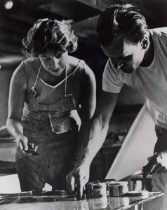 Artist Helen Frankenthaler at work, West Islip, New York, 1964