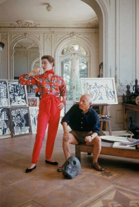 Picasso at work in his Cannes studio.