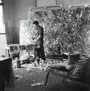 jean-paul riopelle in his atelier rue duratin, paris, 1952