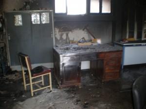 Αίθουσα διδακόντων μετά τη φωτιά