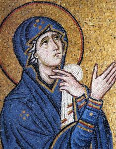 Λεπτομέρεια Ἀπό τη «Σταύρωση». «Ἡ Θεοτόκος κλαίουσα δίπλα στον Σταυρό» (Ιερά Μονή Δαφνίου)