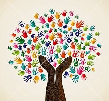 Colorful human handl integration concept tree illustration. Vector file layered for easy manipulation and custom coloring.