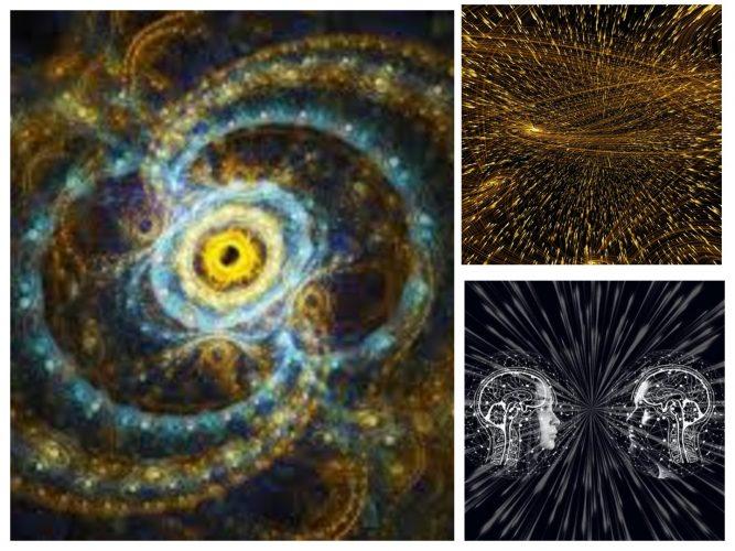 Κολάζ φωτογραφιών σχετικά με την κβαντική φυσική