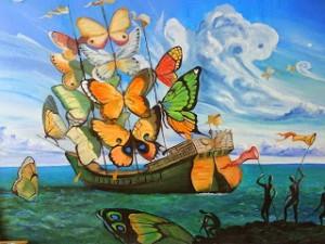 Πίνακας Ζωγραφικής-Καράβι με Πεταλούδες (Dali)