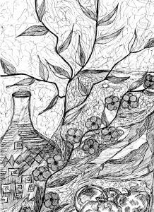 Μπερδεμένα κλαδιά με μπουκάλι της Αμαλίας Κ. Ηλιάδη