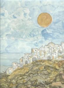Νησιώτικος οικισμός σκαρφαλωμένος σε βράχο