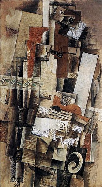 Georges_Braque,_1914,_Man_With_a_Guitar,_oil_on_canvas,_130_x_73_cm,_Musée_National_d'Art_Moderne, Centre Georges Pompidou, Paris.