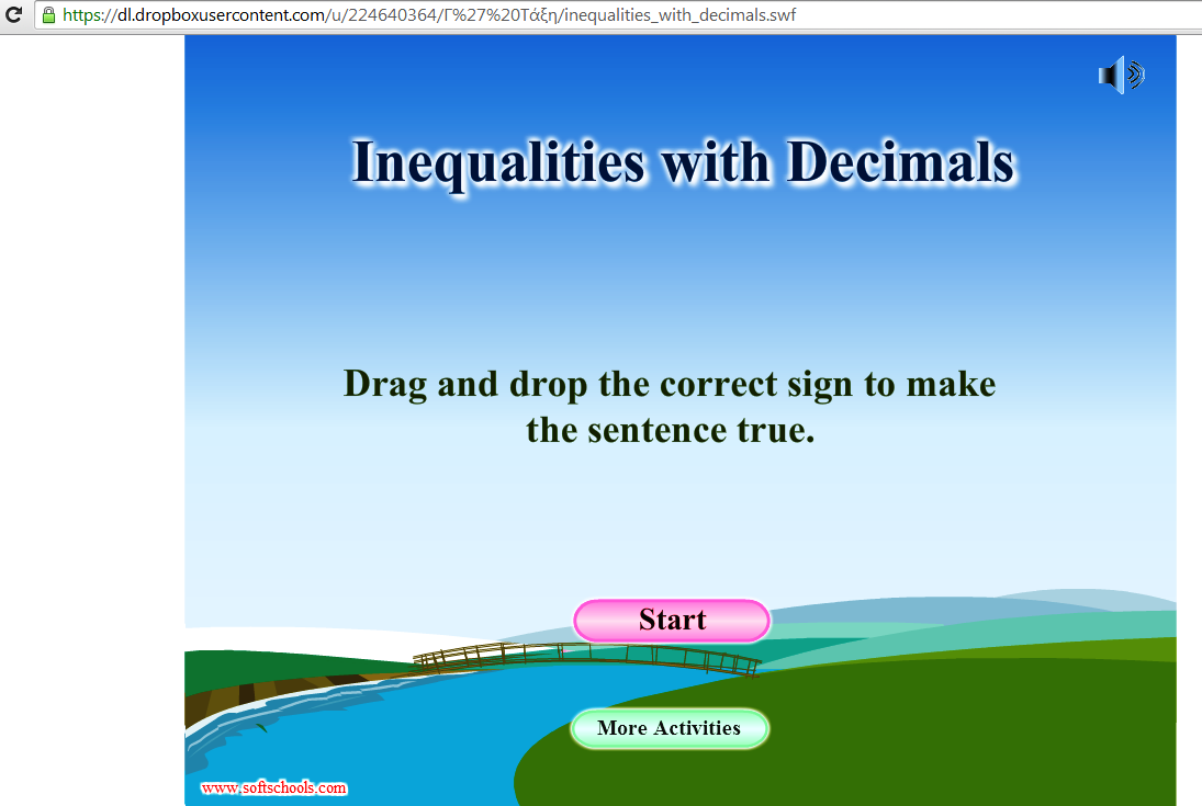 Για να παίξεις,κάνε κλικ στην εικόνα,πάτησε START και σύρε το σωστό σύμβολο της ανισότητας.Καλή διασκέδαση!!!