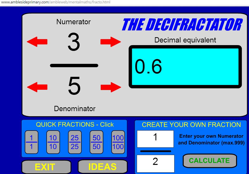 """Χρησιμοποίησε τα κόκκινα βελάκια ή γράψε κάτω δεξιά το κλάσμα που θέλεις να μετατρέψεις σε δεκαδικό αριθμό και πάτησε """"CALCULATE"""""""