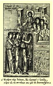 Η παραβολή των δέκα παρθένων. Εικονογραφία Φ. Κόντογλου (1949).
