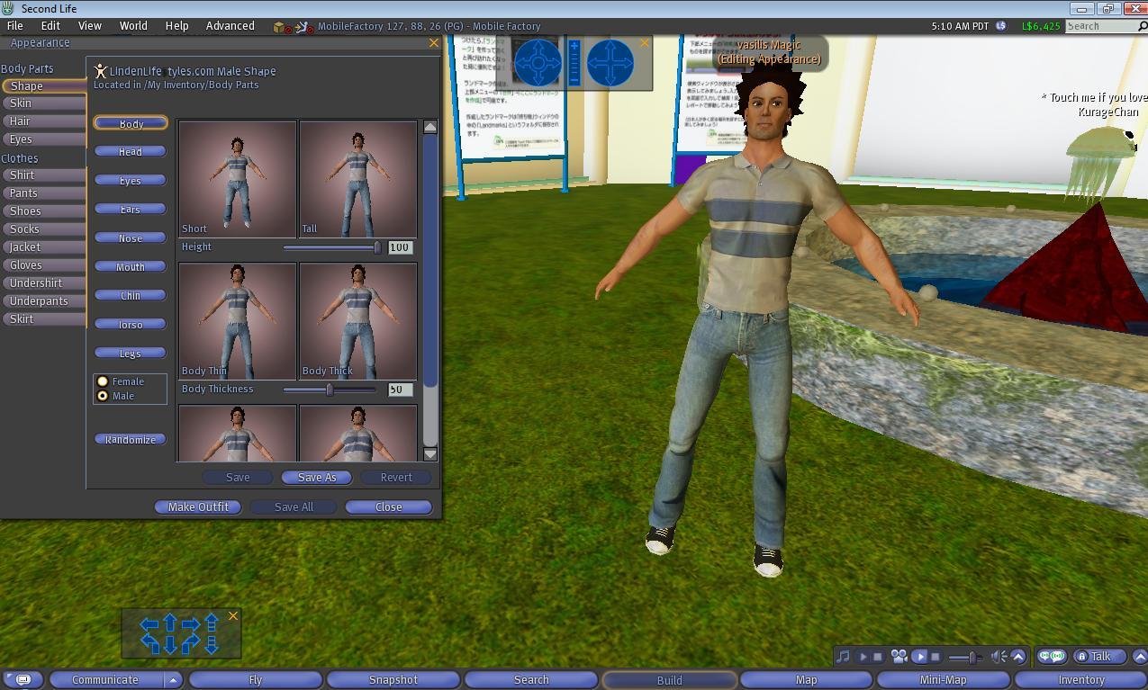 διαμόρφωση avatar στο Second Life