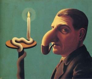 Ο λύχνος του φιλόσοφου (1936). Πίνακας του Ρενέ Μαγκρίτ.
