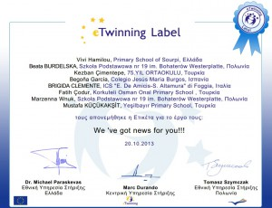 eTwinning Label, Primary School of Sourpi, Greece