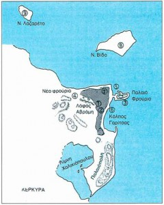 Χάρτης της Κέρκυρας την εποχή του Θουκυδίδη