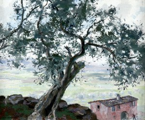 Olive Tree in a Southern Landscape, Olle Hjortzberg