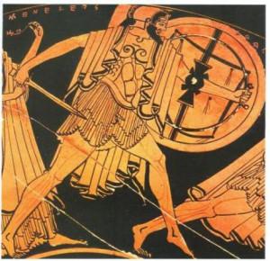 Αγγειογραφία με παράσταση οπλίτη, 5ος αιώνας π.Χ.  (Παρίσι, Μουσείο Λούβρου)