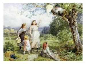 myles-birket-foster-the-entangled-kite